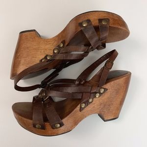 MIA Leather Wooden Platform Wedge Sandal Clog 9
